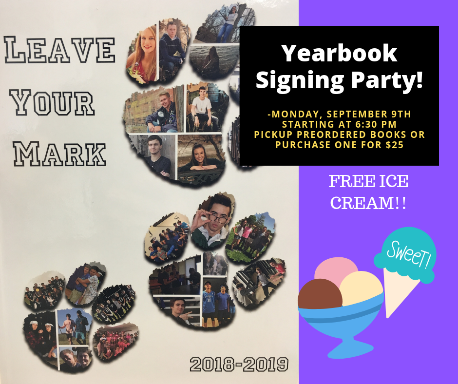 Yearbook signing party flyer.