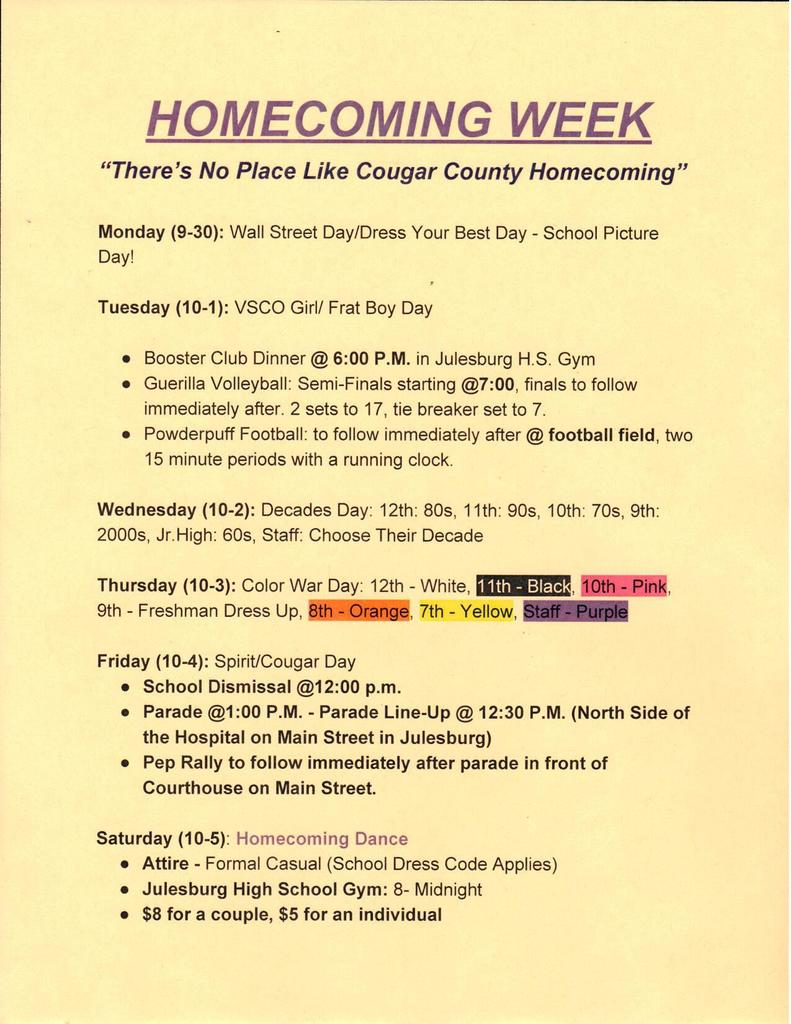 JH/HS Dress Up Days