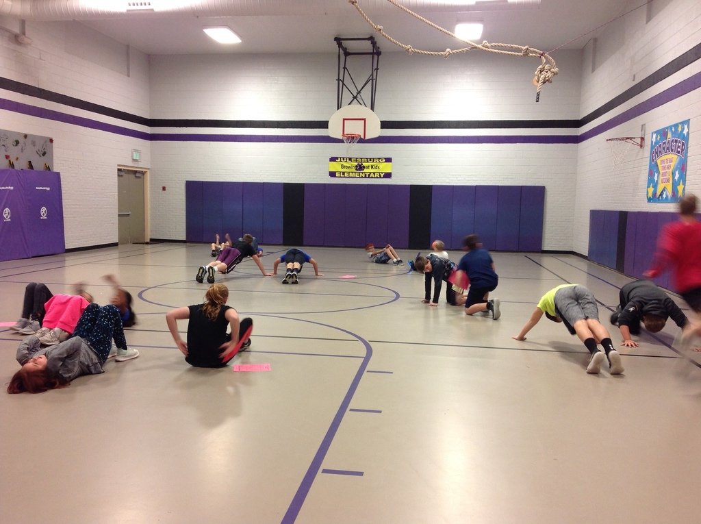 5th graders performing muscular strength and endurance exercises!