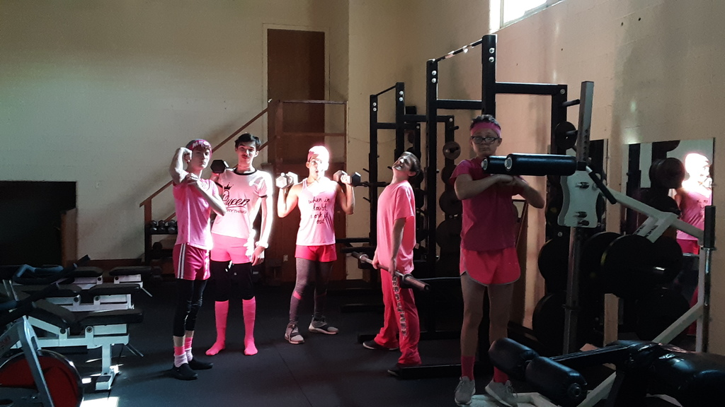 Luis, Matt, Max, MC, and Aiden feeling mighty in their pink workout wear!