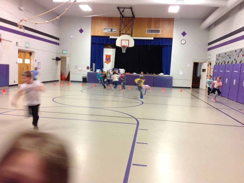 "Kindergarten & 1st grade playing ""Uninterrupted"", a cardiovascular activity."