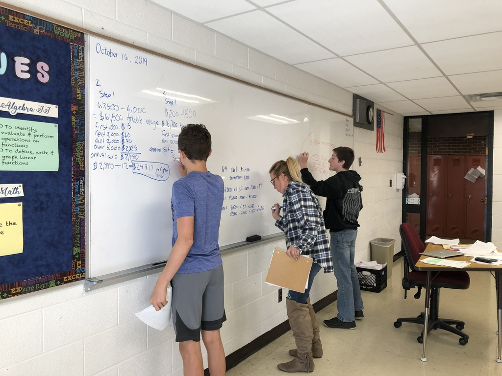 Students in Personal Finance class are learning how to figure taxes that are deducted from an employee's paycheck.  They now know how to calculate federal income tax, state income tax, social security tax, and medicare tax so they have an understanding of where all their wages go.