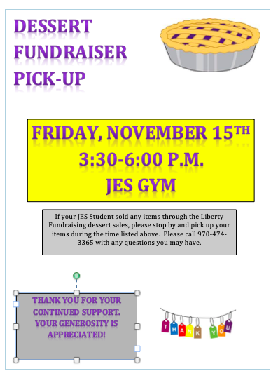 Dessert Fundraiser Pick-Up