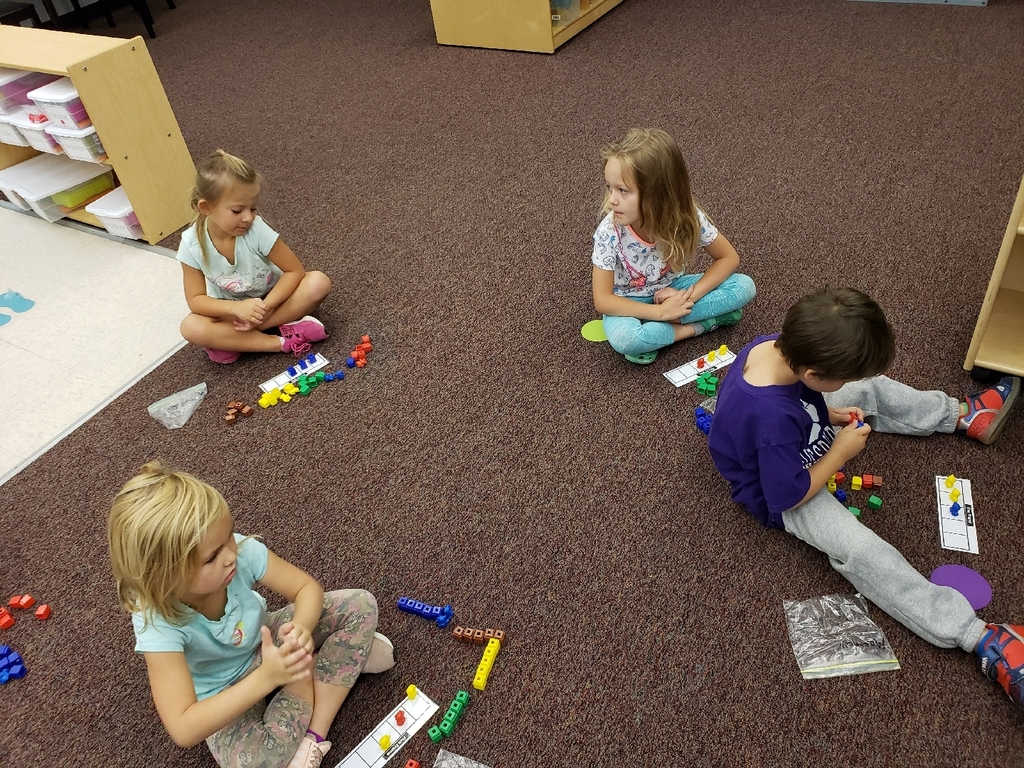 Pre-K class counting using a fives frame