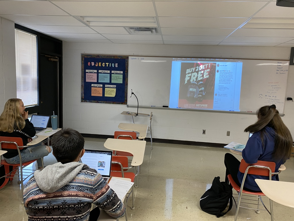 Students from Personal Finance class learned about the influence of social media on our spending decisions.  They looked for ads on social media and tried to identify the tactic that the influencers were using to get their followers to buy the product that they're endorsing.